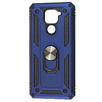 Противоударный чехол бампер Shield Magnetic Ring с подставкой для Xiaomi Redmi Note 9 Blue