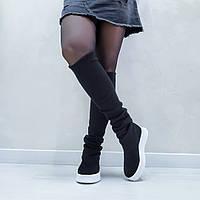 Сапоги ботфорты демисезонные 35 - 41 размер замшевые с чулком-довязом черные на белой подошве