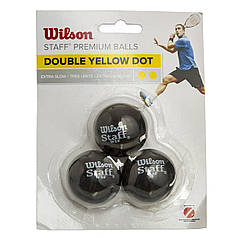 Мяч для сквоша WILSON (3шт) WRT618100 STAFF (резина, d-см, 2 желтые точки, сверхмедленный мяч, черный)