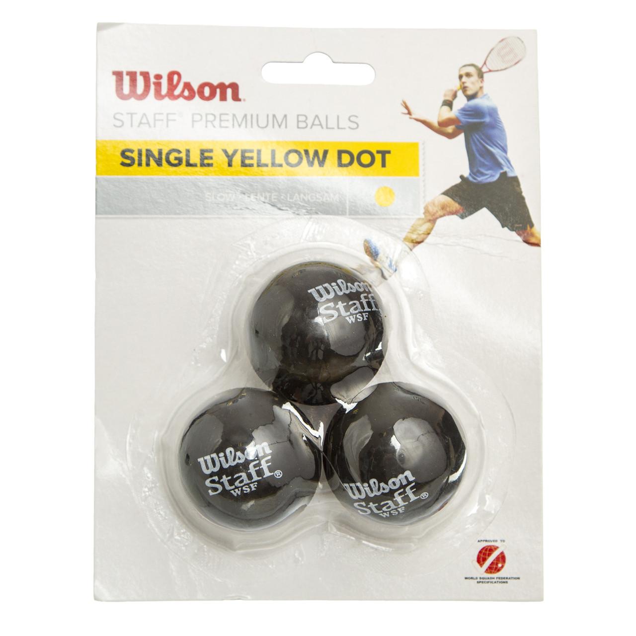 М'яч для сквошу WILSON (3шт) WRT618300 STAFF (гума, d-см, 1 жовта точка, повільний м'яч, чорний)