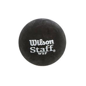 М'яч для сквошу WILSON (3шт) WRT618300 STAFF (гума, d-см, 1 жовта точка, повільний м'яч, чорний), фото 2