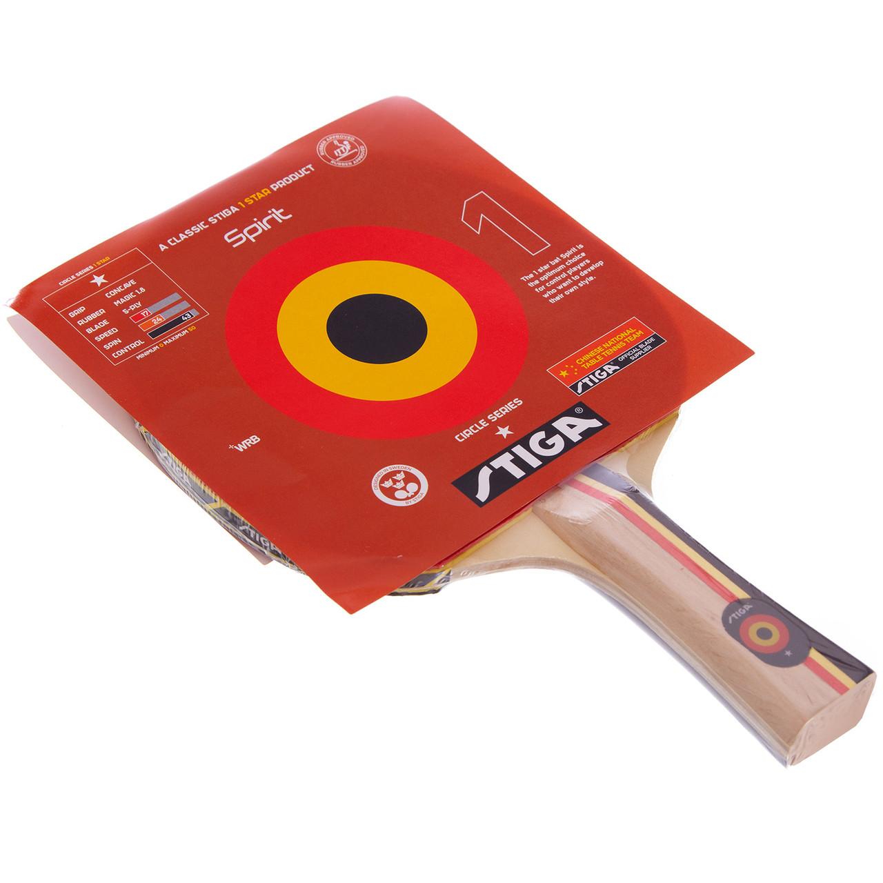 Ракетка для настільного тенісу 1 штука STIGA SGA-179001 SPIRIT 1* (деревина, гума)