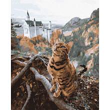Картина по номерам Кот у замка Нойшванштайн