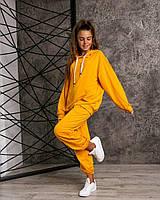 Модный жёлтый спортивный подростковый костюм Oversiz для девочки на рост 140-164