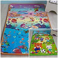 Детский коврик для ползания двухсторонний (Сад + Аувариум). Детский коврик игровой на пол мягкий в детскую
