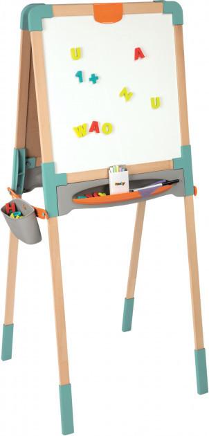 Двосторонній дерев'яний мольберт Smoby Toys Весела навчання 50х55х120 см (410400)