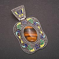 Кулон Тигровый Глаз в квадратной оправе под старину эмаль 2,5х1,8см 5х4см L-7см