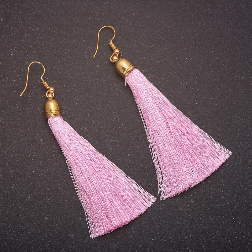 """Сережки Кисті Рожевий Пудра L - 8см колір металу """"золото"""""""
