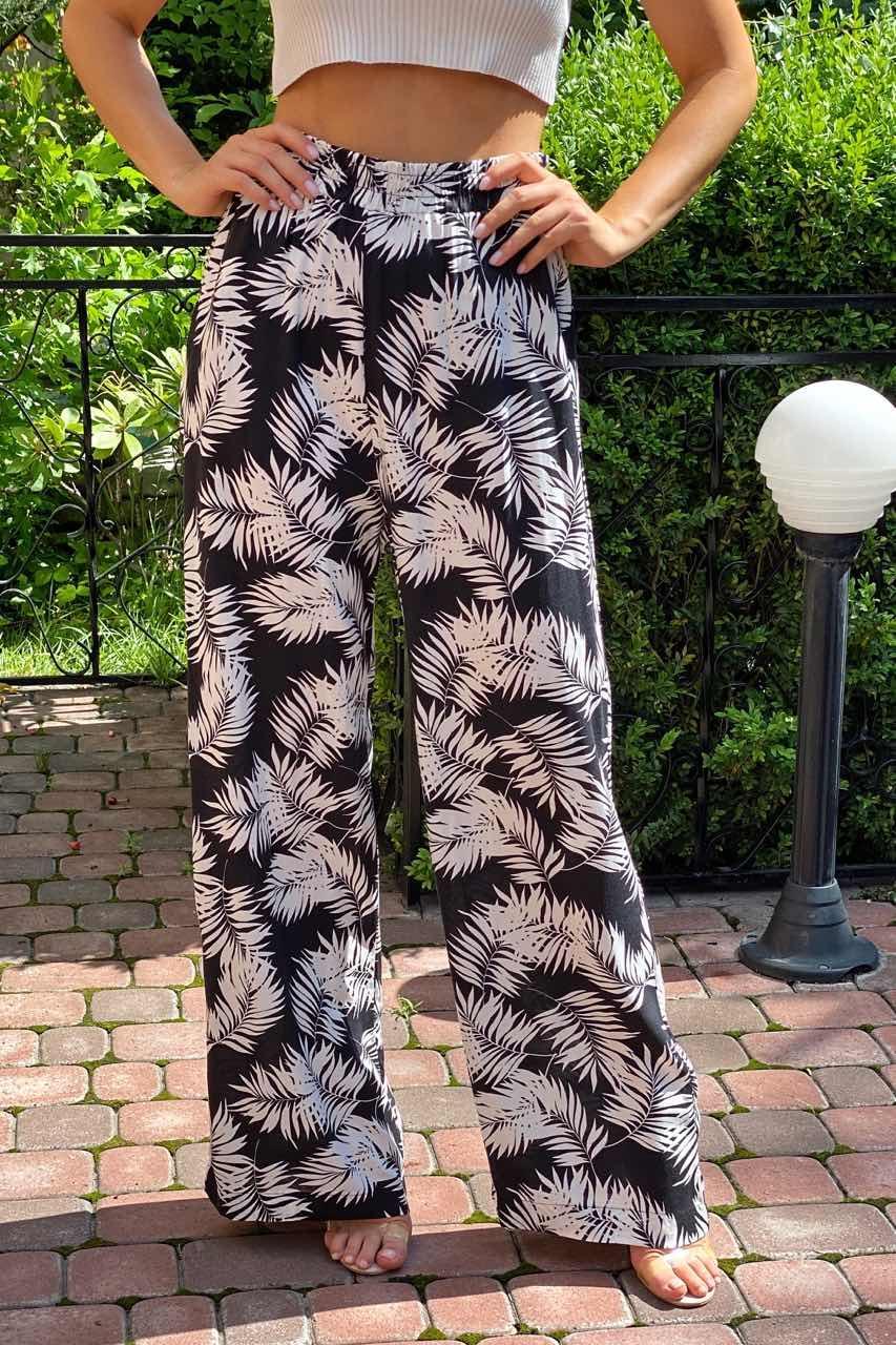 Летние брюки женские палаццо  Crep - белый с черным цвет, S (есть размеры)