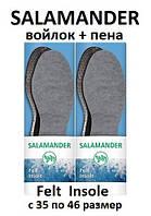 Стельки из войлока SALAMANDER Felt Insole тёплые;  размеры: 35 36 37 38 39 40 41 42 43 44 45 46 (вырезные)