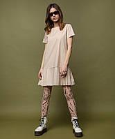 Платье с юбкой в складку OLMOD 405 S пудра (ОMD-405-P-S)