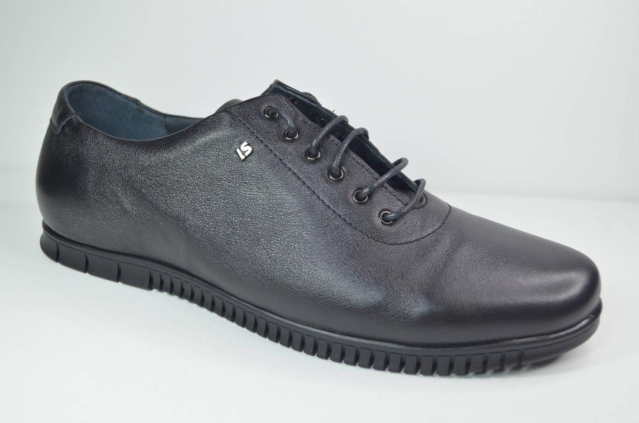 Чоловічі шкіряні туфлі чорні L-Style 1036