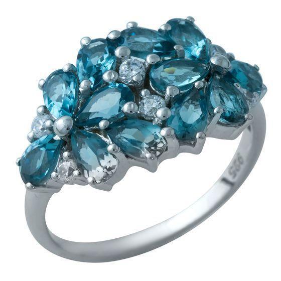Серебряное кольцо DreamJewelry с натуральным топазом Лондон Блю (1934265) 17.5 размер