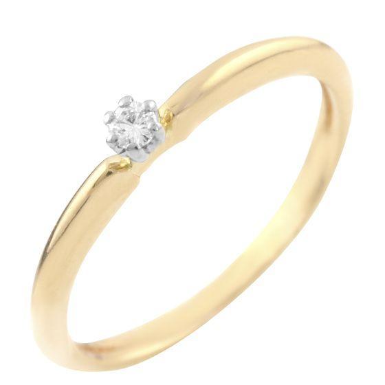 Золотое кольцо DreamJewelry с натуральными бриллиантом 0.06ct (60001224) 17.5 размер