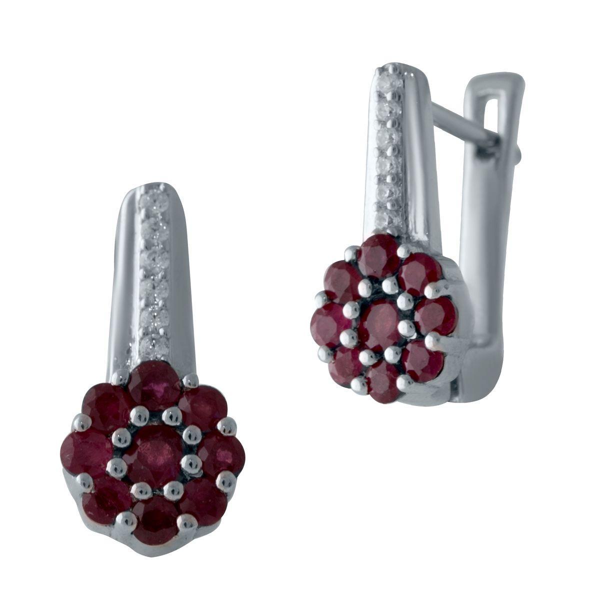 Серебряные серьги DreamJewelry с натуральным рубином (2027775)