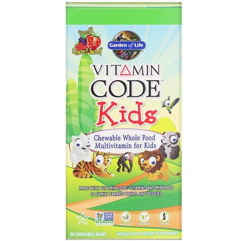 Поливитамины для детей, вкус вишни, Vitamin Code, Garden of Life, 30 жевательных мишек, фото 2