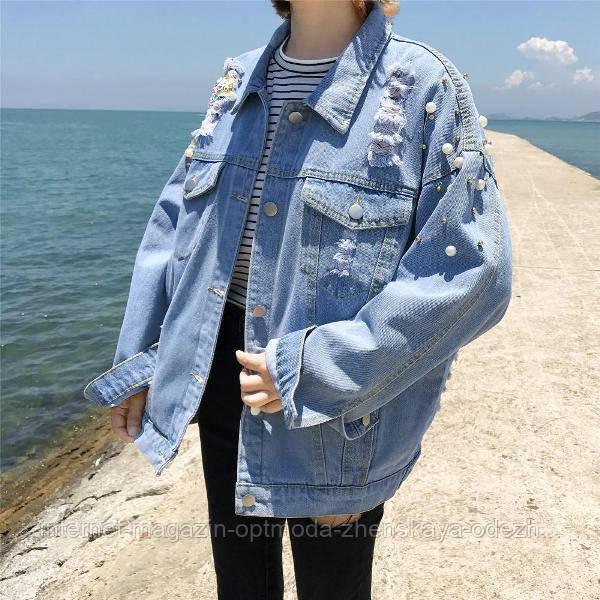 Женская джинсовая куртка с бусинами размер L. Джинсовая женская одежда по оптовым ценам. Пиджак на пуговицах