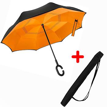 Зонт обратного сложения Up-brella Оранжевый (2d-81)
