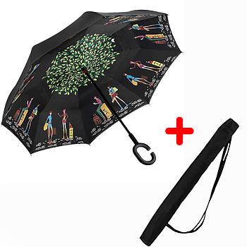 Зонт обратного сложения Up-brella Пикассо Черный (2d-77)