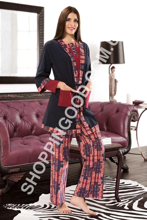 7c90dc2116fb5 Пижама женская Shirly 5962, домашний костюм тройка - халат, футболка и брюки