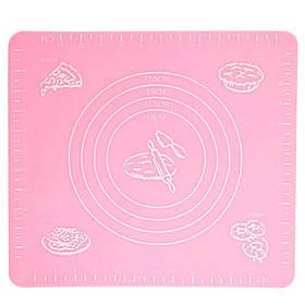 Силиконовый антипригарный коврик для выпечки и раскатки теста 50x40 см VOLRO Розовый (vol-326)