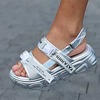Босоножки сандалии женские серые на платформе (код 1252) - жіночі босоніжки сандалі на платформі сірі