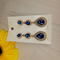 Серьги темно синий камень