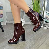 Ботинки женские коричневые на высоком каблуке, натуральная кожа рабат