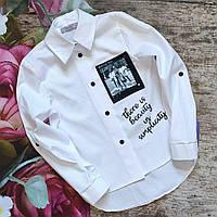 """Белая школьная блуза рубашка  для девочки """"Бьюти"""" 122р"""