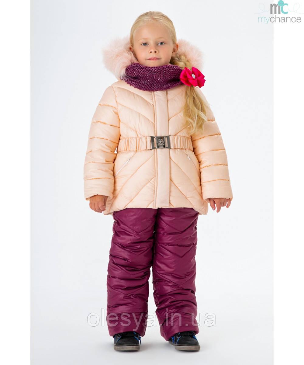 Детский зимний комбинезон на девочку с натуральным мехом размеры 92- 122