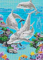 Алмазная вышивка АВ 3053 Дельфины   (25,3*35,2см)