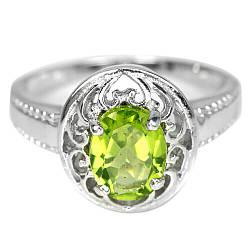 Серебряное кольцо с хризолитом (перидот, оливин), 2472КЦХ