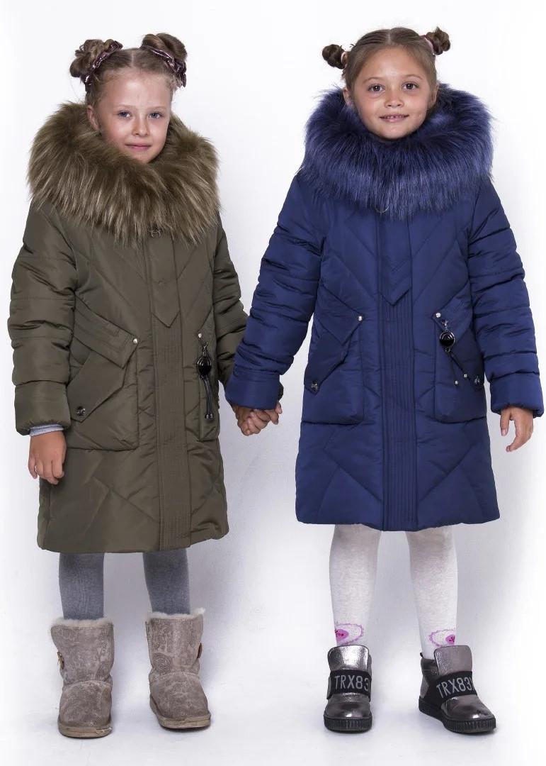 Тёплая детская удлинённая куртка для девочки размеры с 32 по 42