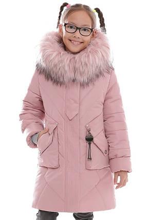 Тёплая детская удлинённая куртка для девочки размеры с 32 по 42, фото 2