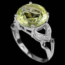 Серебряное кольцо с хризолитом (перидот, оливин), 2473КЦХ