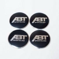 Наклейки на ковпачки ABT чорні / хром лого 56 мм