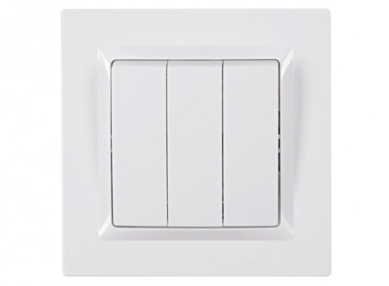 Выключатель тройной Luxel JAZZ (9013) белый