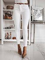 Белые брюки джинсы женские узкие обтягивают с высокой посадкой размер батал