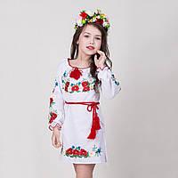 Вышитое детское платье на белом льне Марыся