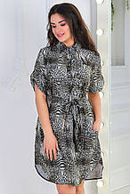 Платье- рубашка 5285 оливка размер 52, без пояса