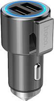 Автомобильное зарядное устройство Hoco Z33 Sword multi-function (2USB) Grey, фото 2