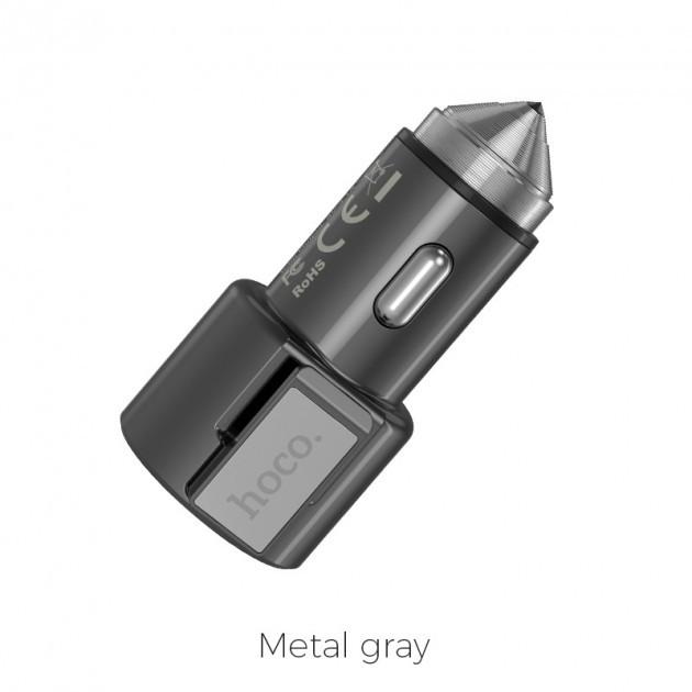Автомобильное зарядное устройство Hoco Z33 Sword multi-function (2USB) Grey