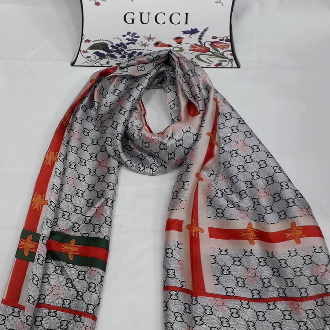 Шёлковый шарф женский  Гуччи Gucci брендовый 80×190  см.