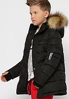 Куртка пухова з хутряною опушкою для хлопчика, на зростання 110-158