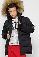 Пухова куртка з хутряним коміром для хлопчика, на зростання 110-158