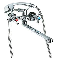 """Смеситель VN 1/2"""" для ванны гусак прямой 350мм дивертор встроенный картриджный TAU"""