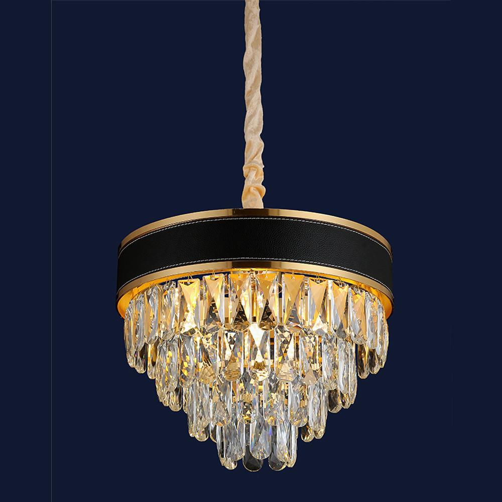 Люстра висячая хрустальная под обычные лампочки цоколь Е14 цвет золото Levistella&756PR1008-4+1 GD