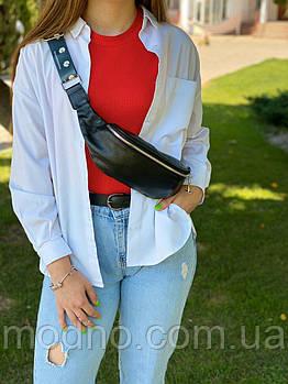 Женская стильная кожаная сумка  бананка на пояс и через плечо