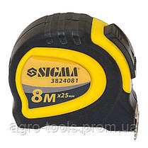 Рулетка магнитная обрезиненная с автостопом 8м×25мм SIGMA (3824081), фото 2