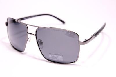 Солнцезащитные поляризационные стильные мужские очки в чёрном матовом металле